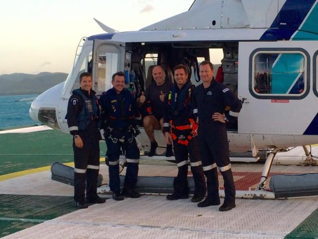 Me and the crew. Mischa, Dean Carroll (Paramedic), Chris Muffett (Rescue Crewman) and Matt Dobson (AircrewmanWinchOperator)