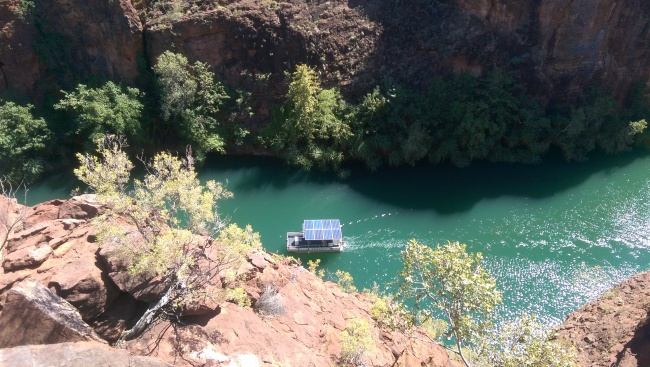 Looking into the gorge, with the solar powered boat