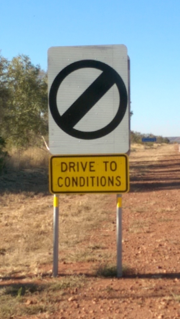 There's no speed limit on some sections of the Stuart Highway. A very rare sign in Australia.