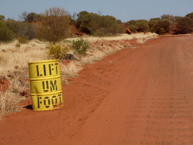 Bend ahead. On the Mereenie Road.