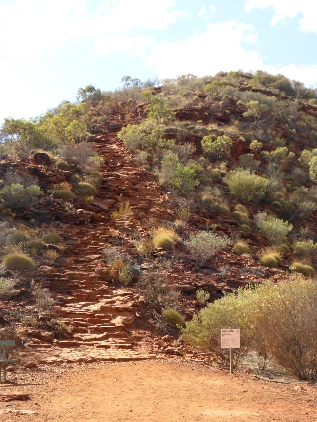 Rock steps,very steep climb.