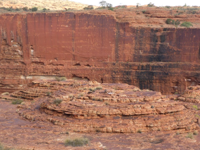 A canyon with some domes.