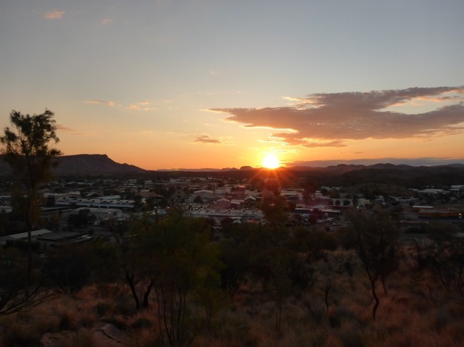The sun goes down over Alice.