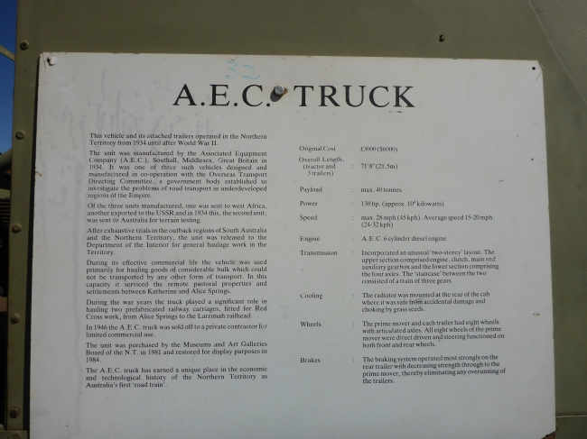 Information on the truck.