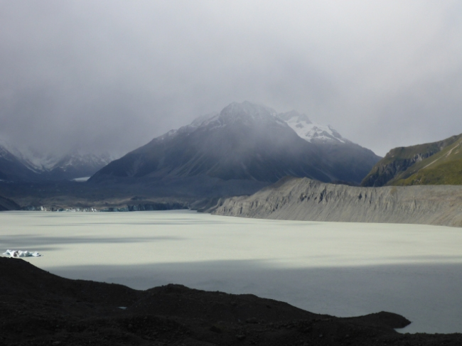 The disappearing glacier. The bank visible on the right was the level of the glacier twenty years ago.