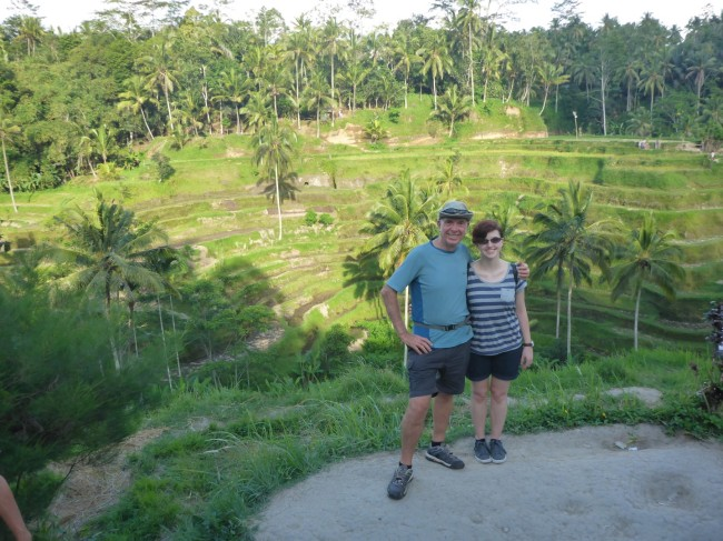 Lush green rice paddies, and me and Beth.