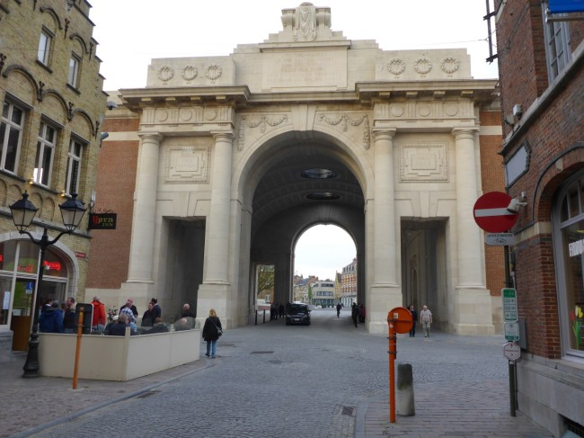 View of the Menin Gate, approaching from Ypres main square.
