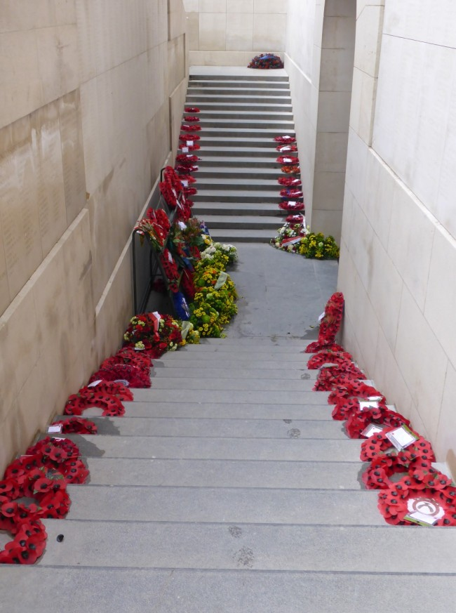 Some of the poppy wreaths laid previously.
