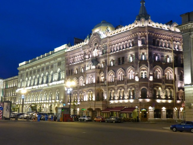 Superbly illuminated building on Nevsky Prospekt.