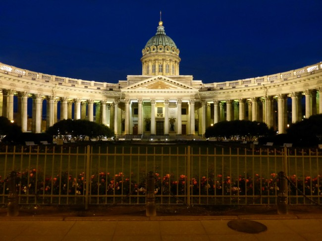 The Kazan Cathedral at night.