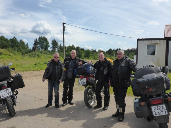 Russian bikers heading north to Norway.