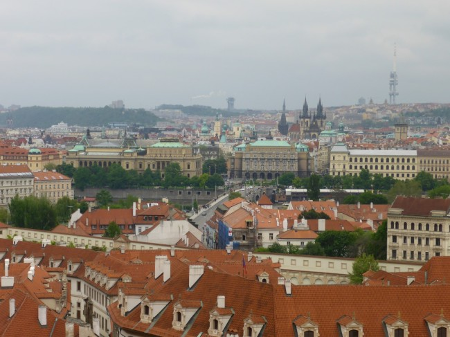 View over Prague from the top of the cathedral.