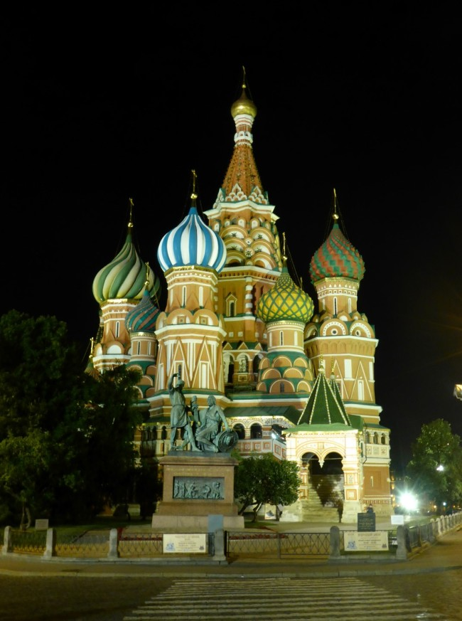 St Basil's Cathedral at night.