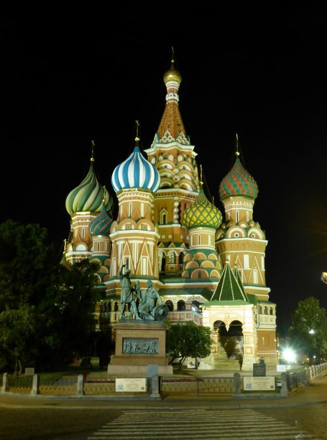 St Basil's Cathedral at night.