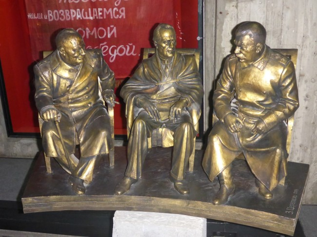 One of the gifts sent to the city. Churchill, Roosevelt and Stalin in conference.