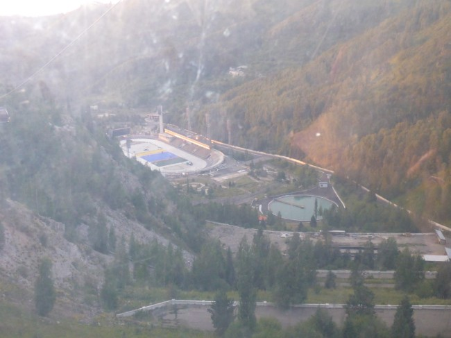 Medeu Stadium from the cable car.