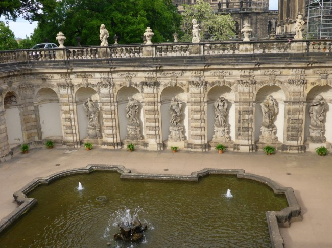 Zwinger fountains and statuary.