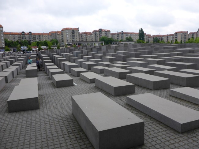 Street level view of the Holocaust Memorial.