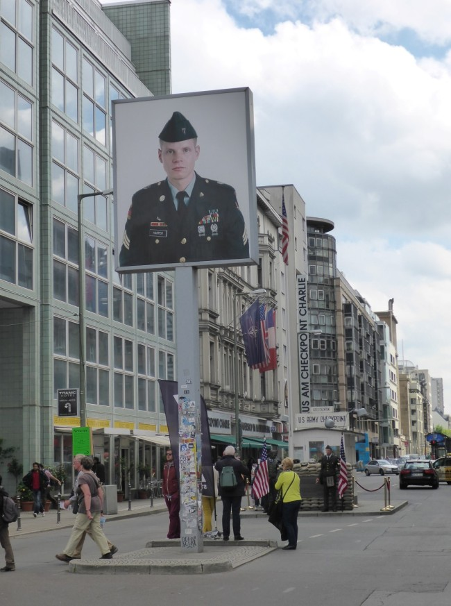 The rather naff mock-up of Checkpoint Charlie.