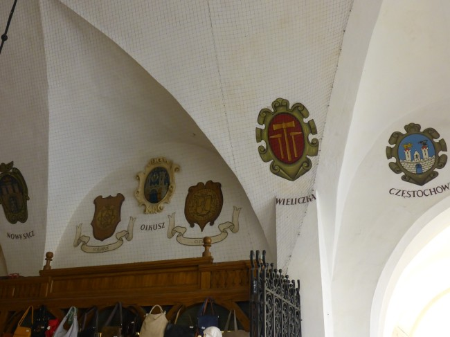 Some of the trades' guilds badges inside the hall.
