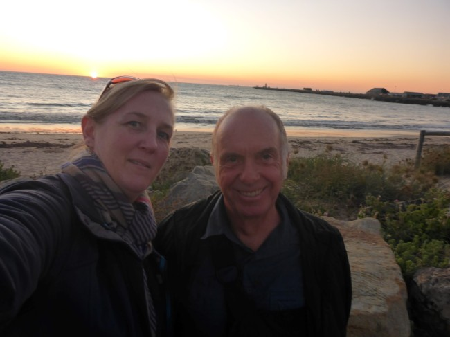 Sunset selfie with Gilda, down in Fremantle.