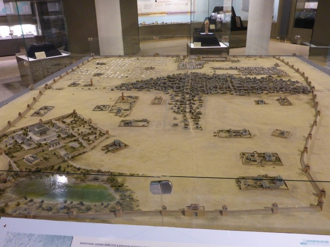 A model of Karakorum, the ancient Mongolian capital.