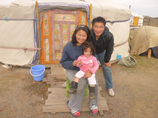 Ganbataar, Suvol and their youngest daughter. Modern Mongolians.