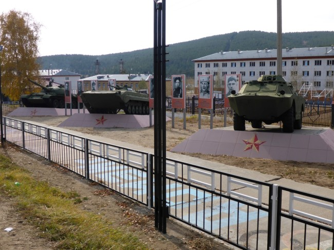 Tanks and tank men on display outside the battalion HQ.