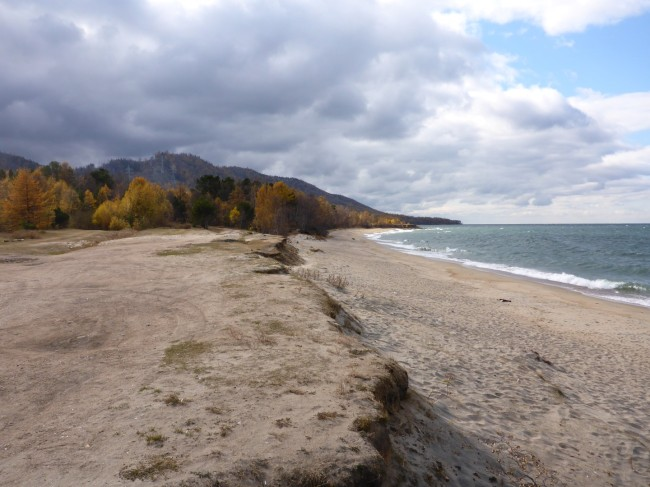 The shore of Lake Baikal on a cold, windy day.