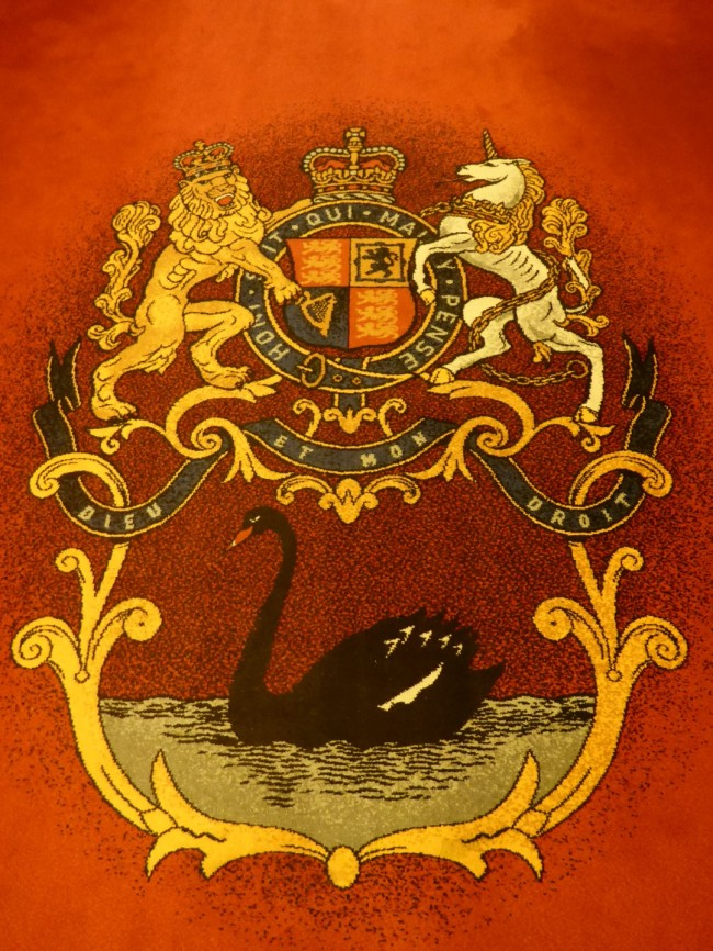 City of Perth's official Black Swan coat of arms. Adopted from the black swans found on the river.