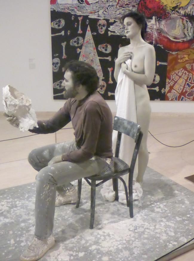 Lifelike sculpture from the modern art gallery