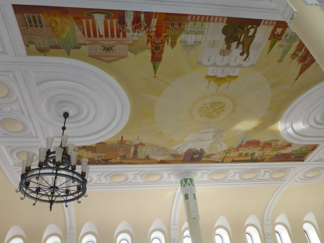 Nicely decorated ceiling inside the station.