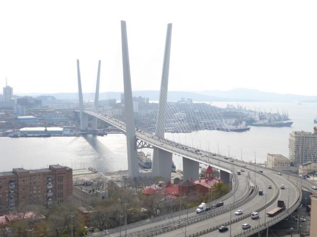 Suspension bridge across the harbour.
