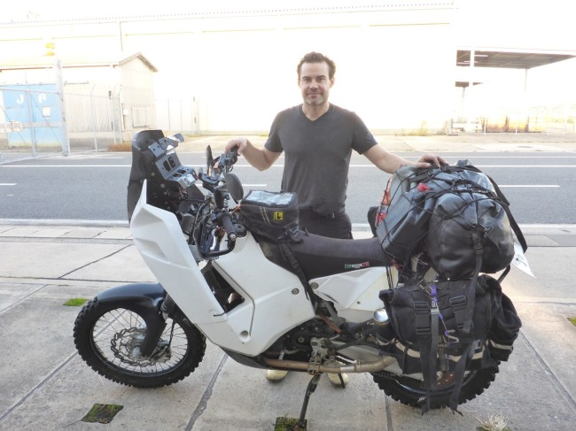 Lukas and his sickly KTM. He sent a box full of spares ahead to Tokyo ready for an engine rebuild.