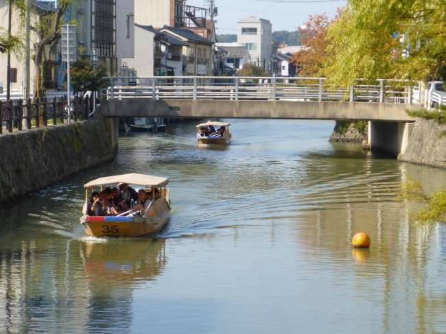 Matsue canal system with tourist boats.