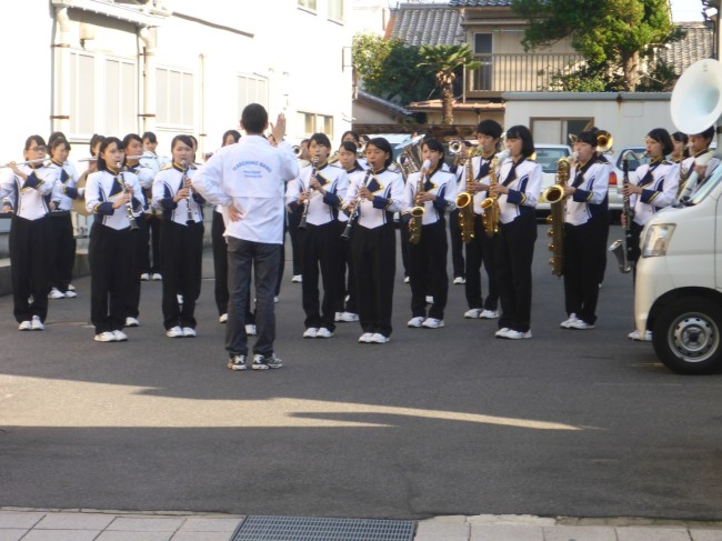 Smartly dressed school band before they marched down to the town square for their performance.