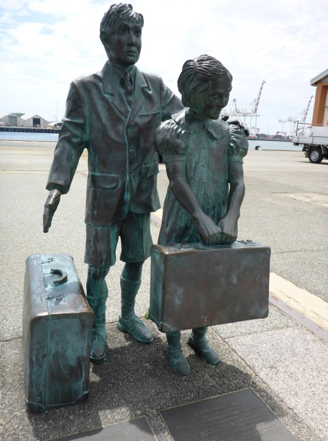 A statue dedicated to the orphan immigrants.