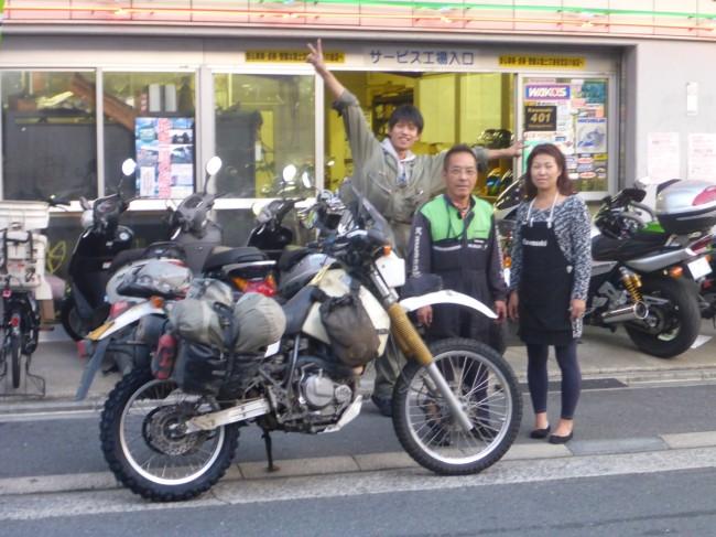 Yuya (son), Isao and Hiromi from Yanagi motorcycles.