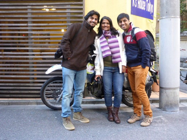 Some helpful Indian visitors, hiding my bike from the parking attendants.