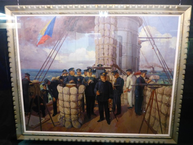 A painting of Admiral Togo during his most famous battle.