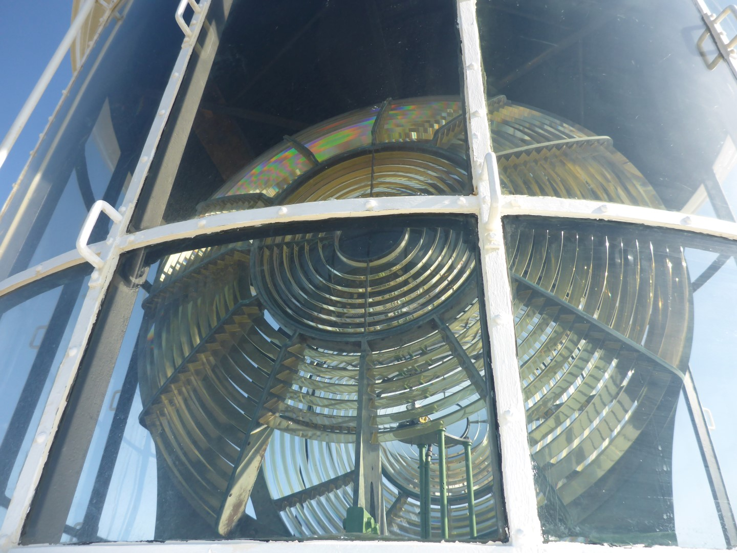 Fresnel lens. It beamed the kerosene powered light out across forty kilometres of sea and floats on mercury.