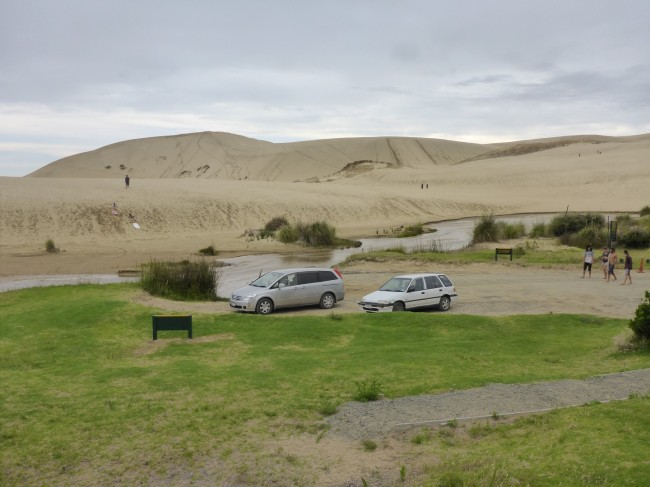Ride past the big dunes ...