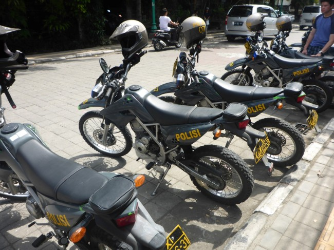 Police bikes. Would they have caught me if I'd scooted off?