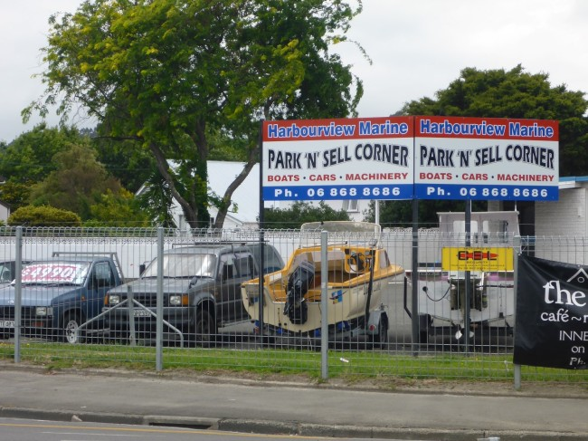 Park and Sell Corner. Not uncommon in NZ towns.