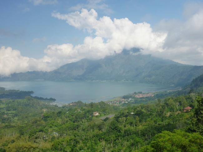The sacred Mount Batur, rising above the water filled caldera.