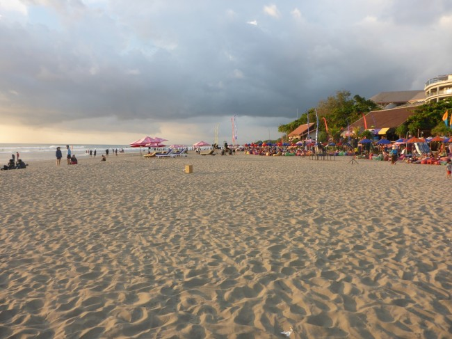 The beach at Seminyak, as the sun goes down. Pretty much our last view of Bali.
