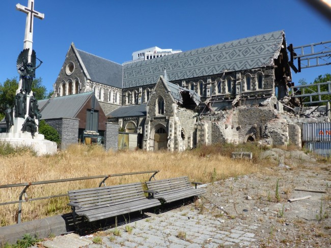 Christchurch Cathedral. Still in ruins because the church doesn't want to pay for it and neither do the citizens.