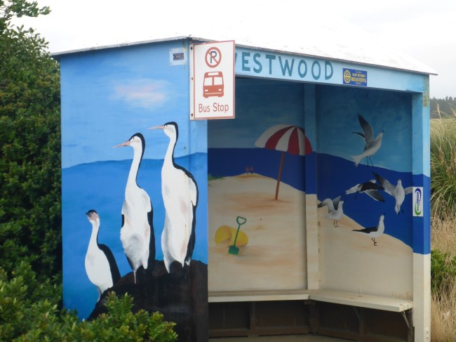 Artistic bus shelter, Otago Peninsular style.