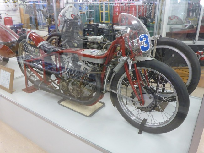 Super fast Indian Scout; Velocette MSS alongside.