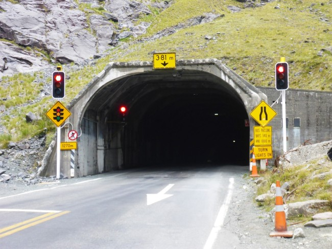 Entrance to the spooky Homer Tunnel.